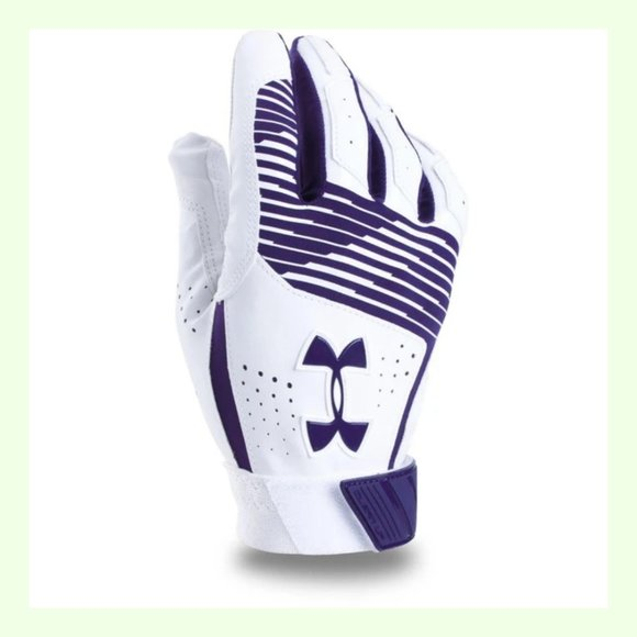 Under Armour Batting Gloves Youth Size Small UA Clean Up Heat Gear White Purple